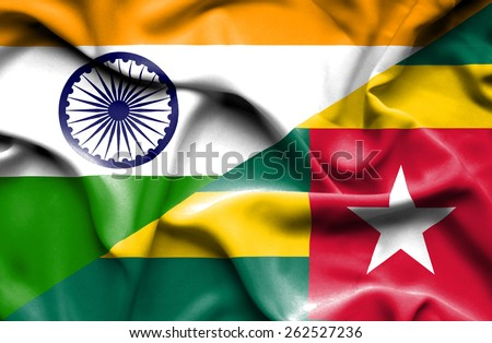 Waving flag of Togo and India