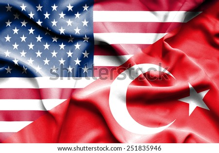 Waving flag of Turkey and USA - stock photo