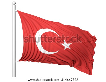 Waving flag of Turkey on flagpole, isolated on white background. - stock photo