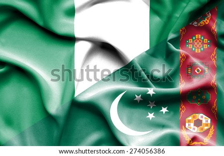 Waving flag of Turkmenistan and Nigeria