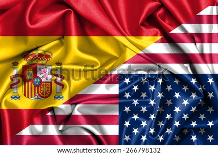 Waving flag of United States of America and Spain - stock photo