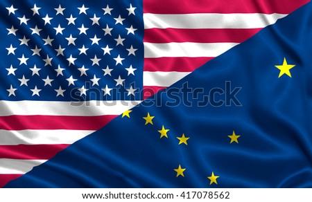 Waving flag of USA and Alaska state (USA) - stock photo