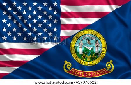 Waving flag of USA and Idaho state (USA) - stock photo