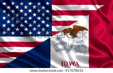 Waving flag of USA and Iowa state (USA) - stock photo