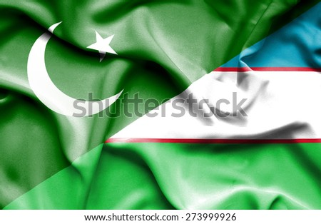 Waving flag of Uzbekistan and Pakistan