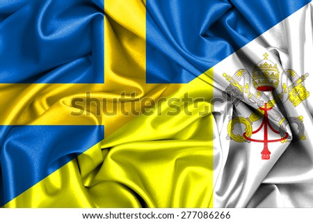 Waving flag of Vatican and Sweden - stock photo