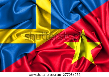 Waving flag of Vietnam and Sweden - stock photo