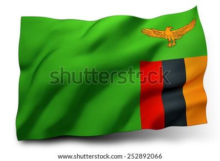 Waving flag of Zambia isolated on white background - stock photo