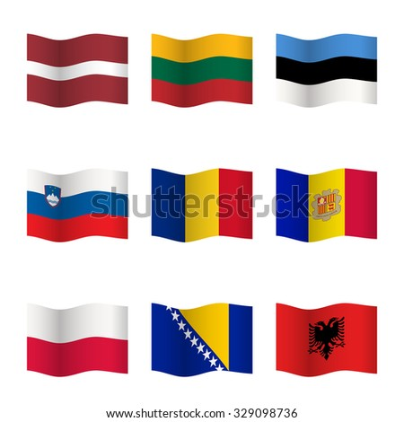 Waving flags of different countries. Flag icons on white background. 3D waving position with shadow. Each flag is isolated on its own layer with the proper name. Raster version. Raster version. Set 8. - stock photo