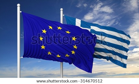 Waving flags of EU and Greece on flagpole, on blue sky background. - stock photo