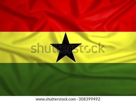 Waving Ghana Flag - stock photo