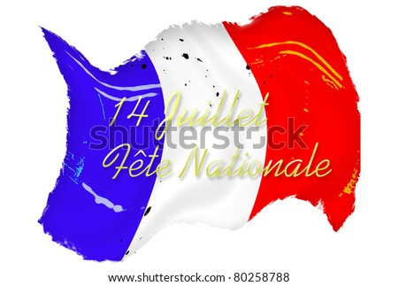 Waving grunge French flag stained and spotted over white background with text - stock photo