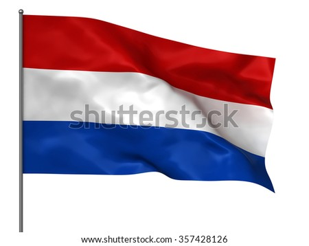 Waving Holland flag isolated over white background - stock photo