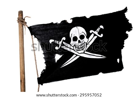 Waving in the wind pirate flag on the mast. Isolated on white - stock photo