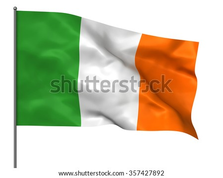 Waving Ireland flag isolated over white background - stock photo