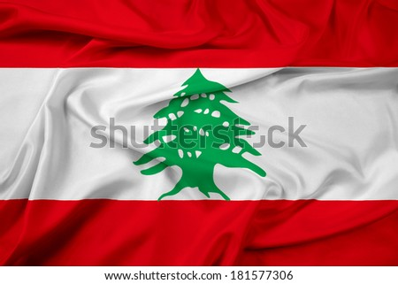 Waving Lebanon Flag