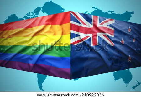 Waving New Zealand and Gay flags of the political map of the world - stock photo