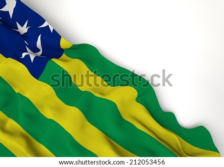 Waving of goias flag, in corner of white background  - stock photo