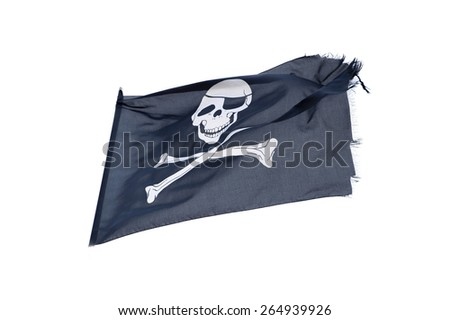 waving pirate flag jolly roger on white background - stock photo