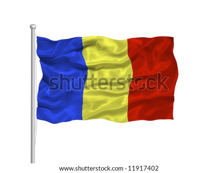 waving Romanian Flag on white