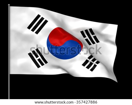 Waving South Korean flag isolated over black background