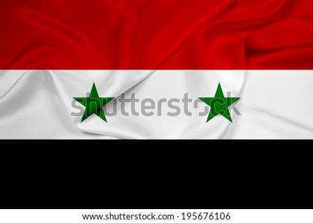 Waving Syria Flag - stock photo