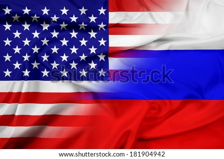 Waving USA and Russia Flag