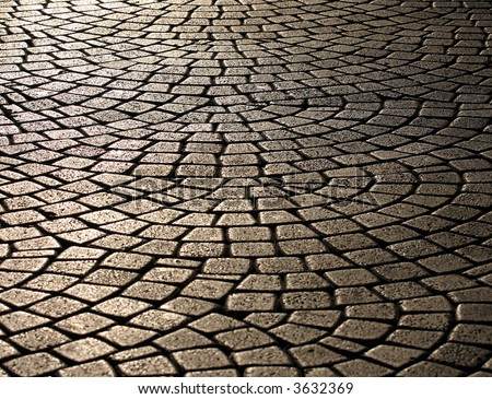 wavy brick walkway #2 - stock photo