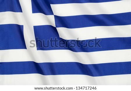 wavy flag of greece - stock photo