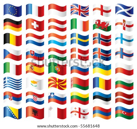 Wavy flags set - Europe. 48 flags. JPEG version.