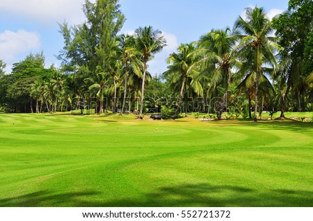 Wavy green golf field on the tropical island of Praslin, Seychelles