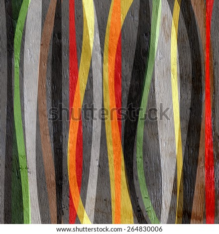 wavy lines abstract design on wood grain texture - stock photo