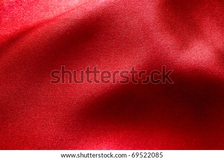 wavy red fabric for background - stock photo