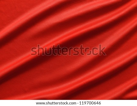 Wavy red fabric texture - stock photo