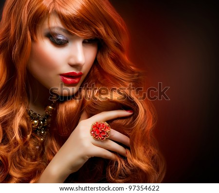 Wavy Red Hair. Fashion Girl Portrait. - stock photo