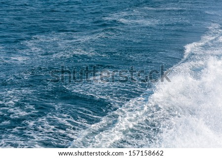 Wavy sea water - the way after the ferryboat