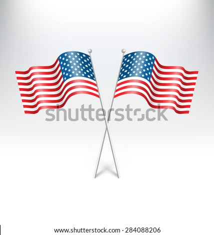 Wavy USA national flags on grayscale background - stock photo