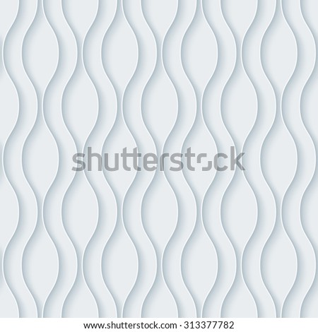 Wavy. White paper with outline extrude effect. Abstract 3d seamless background. - stock photo