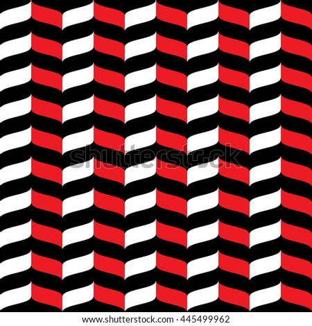 Wavy zig zag seamless pattern. White, red and black background. Abstract geometric waves texture. 3d effect. Design template graphic for wallpaper, wrapping, fabric, textile, etc. Illustration. - stock photo
