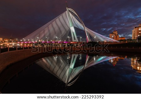 Wawasan bridge at night ( Visible littele noise due to long exposure, soft focus)  - stock photo