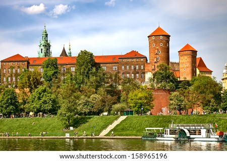 Wawel Castle in Cracow, Poland  - stock photo