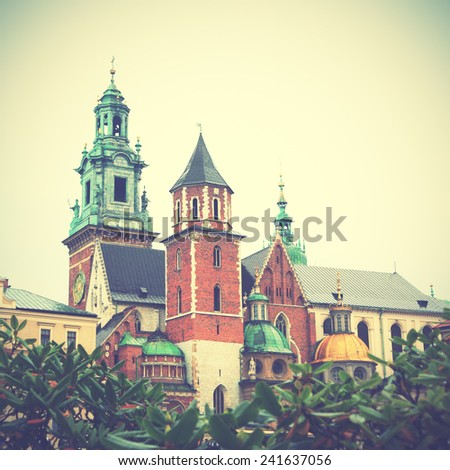 Wawel Castle in Krakow, Poland. Instagram style filtred image - stock photo