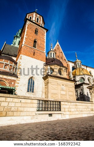 Wawel Cathedral (The Cathedral Basilica of Sts. Stanislaw and Vaclav) - famous Polish landmark on the Wawel Hill in Cracow