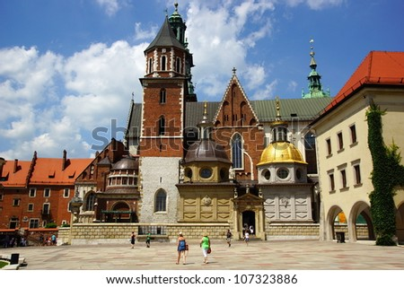 Wawel Cathedral, The Cathedral Basilica of Sts. Stanislaw and Vaclav  on the Wawel Hill in Cracow - stock photo