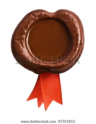 wax seal with red ribbon - stock photo