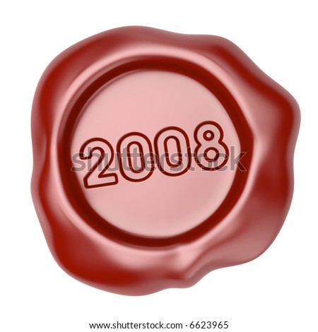 Wax seal with 2008 text - concept - stock photo