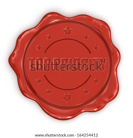Wax Stamp Top Priority (clipping path included) - stock photo