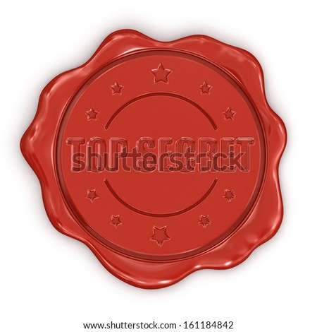 Wax Stamp Top Secret (clipping path included) - stock photo
