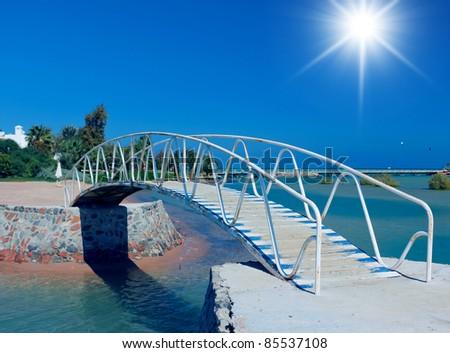 Way across the Bridge Seascape Scene - stock photo