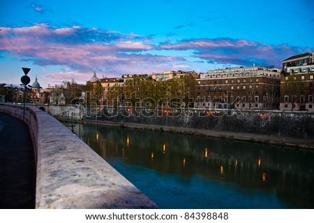 way back form vatican at dusk from in front of Metro night, Rome Italy - stock photo